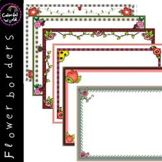 This colorful flower borders set includes 12 images, six with white and six with transparent background, high resolution, png format. Page Borders, 12 Image, Love Is All, Colorful Flowers, Clip Art, Frame, Picture Frame, Frames, Pictures