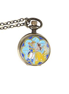Disney Beauty And The Beast Dancing Pocket Watch Necklace,