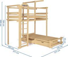 Un letto a castello a forma di casetta, realizzato con legno ...