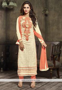 Georgette & Net Designer Churidar Salwar Suit In 2 Piece Combo Pack Of Grey & Cream Color