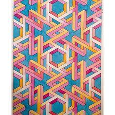 #mulpix #impossible #isometric #geometry #symmetry #pattern #handmade #aquarelle #watercolour #penrose #triangle #mathart