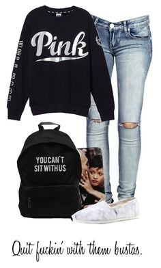 """♪ I been tryna call your number ♪"" by jasmine-humphries ❤ liked on Polyvore featuring Boohoo, TOMS and Victoria's Secret PINK"