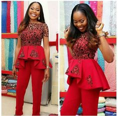 Aso Ebi Styles : Top and Trouser .Aso Ebi Styles : Top and Trouser African Dresses For Women, African Attire, African Wear, African Fashion Dresses, African Women, Ghanaian Fashion, Unique Ankara Styles, Native Wears, Style Africain