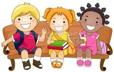 Cartoon benches   506442_дети-сидят-скамейке-три-cute-детей.jpg