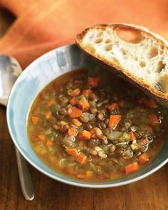Pair lentils with your favorite vegetables to make this flavorful, hearty soup from Martha Stewart. There's no better way to warm up on a cold day than with a lentil soup. Add up to a cup more water if the lentil soup becomes too thick during cooking. Quick Soup Recipes, Lentil Soup Recipes, Vegetarian Recipes, Cooking Recipes, Healthy Recipes, Dinner Recipes, Healthy Soups, Lentil Vegetable Soup, Easy Lentil Soup