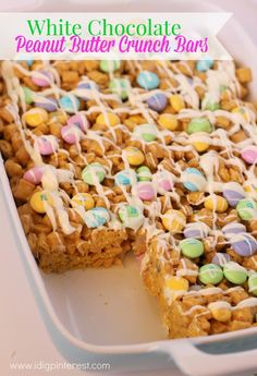 I Dig Pinterest: Easter White Chocolate Peanut Butter Crunch Bars