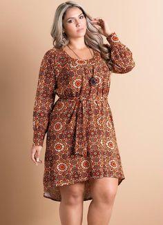 Vestido Mullet Estampa Mandala Plus Size - Quintess