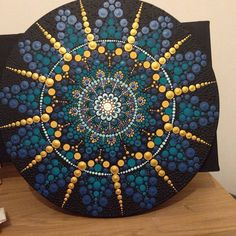 "156 Likes, 23 Comments - Sarah Dermody - SLD - ART (@dermodyart2017) on Instagram: ""Think it's finally done #artbyme #SLD #mandala #acrylicpainting #blue #green #gold #dotillism…"""