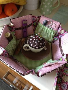 Etui box  {hexagon sewing box kit; cup & saucer pin cushion in center is special touch}