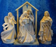 """Glad Tidings"" nativity set by Karen Hahn / Foundations - from yonderstar;  creche is 8"" high and figures are 6"" scale"
