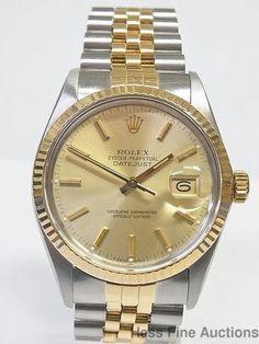 18k Gold SS Genuine Rolex Datejust Mens Beautifully Running Watch See Pics #Rolex #LuxurySportStyles