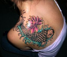 Japanese Koi Tattoo on Shoulder--I like the placement, but not the tattoo so much