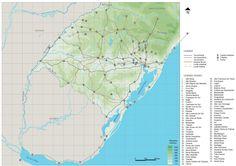 Mapa Base RS - formação da rede do Rio Grande do Sul - Brasil. Urbanismo - Projeto III