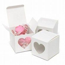White Heart Window Favor Box
