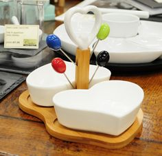 Wood/ceramic heart olive set, £25.  Charlie6.
