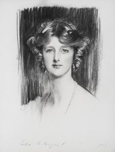 drawing -Edith, Marchioness of Londonderry, by John Singer Sargent, 1913 Portrait Sketches, Portrait Art, Beaux Arts Paris, Sargent Art, Fine Art Drawing, Drawing Room, Charcoal Portraits, Sketch Painting, Sketch Art