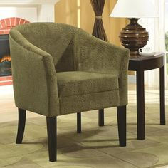 Accent Seating Accent Chair w/ Green Microvelvet Upholstery