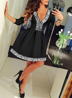 This is a women's full mini dress that is perfect for any dressy occasions you may have scheduled for your spring or summer. It is made from a substantial cotton blend fabric that is wrinkle resistant