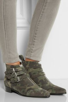 Tabitha Simmons|Early camouflage-print suede ankle boots|NET-A-PORTER.COM