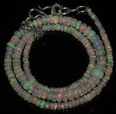 """41 Crts 1 Strands 3 to 6 mm 15"""" Beads necklace Ethiopian Welo Fire Opal  A+1606"""