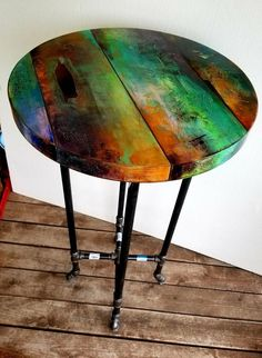 Whimsical hand painted bistro table, funky colorful round industrial furniture, boho decor, colorful pub table - Decoration Fireplace Garden art ideas Home accessories Furniture Makeover, Diy Furniture, Furniture Design, Furniture Vintage, Painted Table Tops, Hand Painted, Painted Coffee Tables, Pipe Table, Pipe Desk