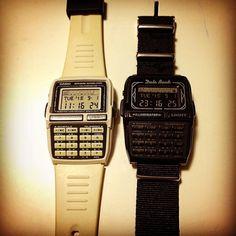 """90's CASIO """"DATA BANK""""  白と黒。 右はELECTRIC COTTAGEのコラボ物。液晶は一部を残して白黒反転のカスタムを。経年劣化でバンドが崩壊したので最近、ナイロンベルトにチェンジ。20年近くの愛用品。  #90s#casio#databank#erecteiccottage#ec#hf#fragment #fragmentdesign #wristwatch #watch#腕時計 #カシオ#データバンク#エレクトリックコテージ#フラグメント#フラグメントデザイン#藤原ヒロシ"""