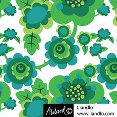 Liandlo Fabric - Retro Flowers Green €23.50 per metre