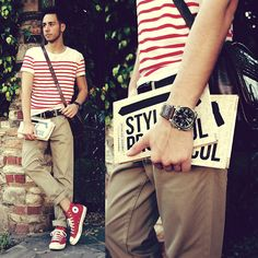 By Reinaldo Irizarry Style Protocol: A Style Guide Engineered For Modern Men, H Shirt, Urban Outfitters Bag, H Belt, Zara Pants, English Laundry Watch, Converse Shoes