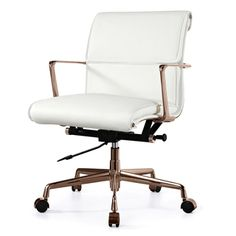 TWOPAD Office Chair in Rose Gold and White Italian Leather Smooth Back