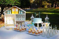 go fly a kite outdoor summer birthday party dessert table