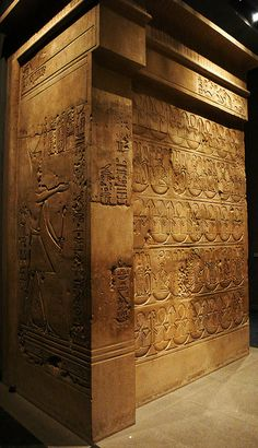 Reign of Ptolemy IV to 221-205 BC,  sandstone, H. 380 l. 360, P. 300 cm  Gift of the Institute of Oriental Archaeology in 1938, Museum of Fine Arts of Lyon. Originally, this marked a monumental gate entrance to the main sanctuary Medamud, Egypt.