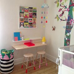 Instagram photo by @Lisbeth Østergaard Østergaard Mortensen (leizyb)   Statigram. Wallpaper tree. Dip painted stools. Cloud nuage mobile. Kids desk area