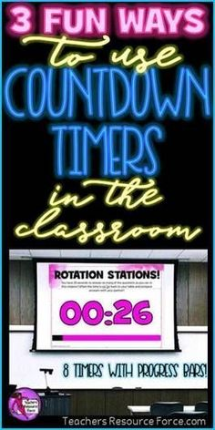 3 fun ways to use countdown timers in the classroom Classroom Timer, Classroom Routines, High School Classroom, High School Students, Classroom Activities, Classroom Ideas, Teaching Procedures, Classroom Procedures, Free Teaching Resources