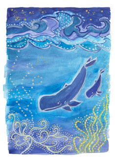 Mother and baby whale in underwater landscape - digital download available in my Etsy shop. Download and print at home in 3 or more standard sizes. Watercolor Whale, Watercolor Artwork, Watercolor And Ink, Baby Whale, Kids Sleep, Ink Illustrations, Mother And Baby, Printing Services, Underwater