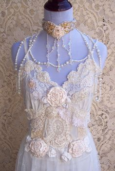 French Vintage Lingerie Wedding Gown