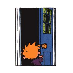 Calvin and Hobbes animated gif, I'M HOME!!  (this is awesome! I love the shoes)