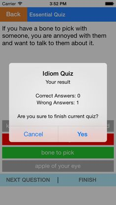 English Idioms and Phrases        iOS Universal This app will help you learn Idioms and Phrases in English very easily and effectively. We have more than 3500 essential English Idioms and Phrasal Verbs that will help you improve your speaking and listening English. Quiz feature will help you remember phrases perfectly. It's very easy to use.  Features: - Idioms and Phrases dictionary: look up and view details of each item. - English Proverbs - American Slangs - Quiz: test your knowledge…
