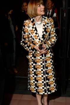Anna Wintour has the pick of the bunch when it comes to clothes and this stunning coat proves that she's bang on the money! [Photo by Steve Eichner]. Fashion Editor, Fashion News, High Fashion, Anna Wintour Style, Diana Vreeland, Influential People, Inspiring People, Vogue Magazine, Love Her Style