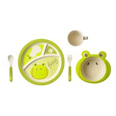 For your little bambino. Bamboo Kids 5 Piece Frog Set: Plate, Bowl, Cup and Utensils