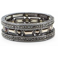 Sole Society Pave Stretch Bracelet Set ($50) ❤ liked on Polyvore featuring jewelry, bracelets, gunmetal, cuff bangle, pave jewelry, sparkle jewelry, pave bangle and sole society