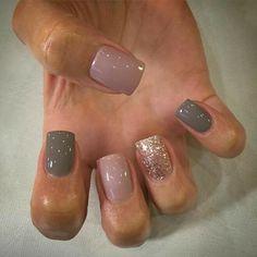 Brown, Gray glitter  Nail