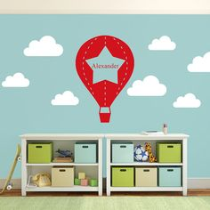 Hot Air Balloon Wall Sticker, Hot Air Ballon Wall Decal, Boys Bedroom Decoration, Children's Bedroom Idea, Nursery Wall Sticker, Nursery Wall Decal