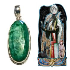 Emerald Pendant. Encoded By Egyptian High Priestess Stargate To Thoth, God Of Magic. Astrology, Jewelry, Silver. May Birthstone, Reiki #1217