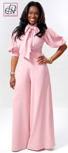Crepe bow blouse & high wasisted wide leg slacks by Tawni Haynes