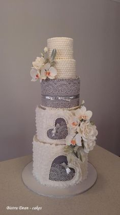 Wedding cake with orchids and roses ... by Bistra Dean  - http://cakesdecor.com/cakes/228689-wedding-cake-with-orchids-and-roses