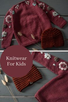 Cute Sweaters, Girls Sweaters, Baby Sweaters, Flower Embroidery, Hand Embroidery, Hand Knitting, Knitting Patterns, Organic Baby Clothes, Dark Knight