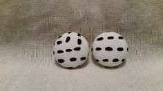 """Just a Dash button earrings. Handmade fabric covered button earrings featuring white or black dashes on a white or black background. Available in 3/4""""."""