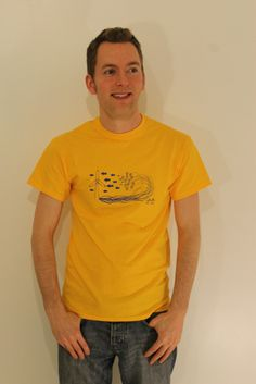 Recharge Blue on Gold By Ryan Chamberlain  Limited Edition Artist Led T-shirts exclusively available from  http://www.inkytees.co.uk/