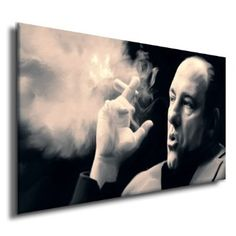 Amazon.com: TONY SOPRANOS w cigar dvd poster painting CANVAS ART GICLEE PRINT (Small/Mounted): Home & Kitchen