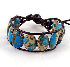 Turquoise Aqua Terra Jasper Black Leather Cuff Bracelet #jasper